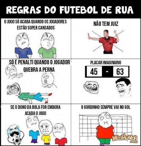 regras do futebol de rua