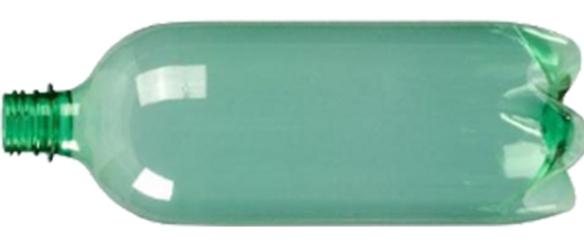 Garrafa-pet-verde corte deitada